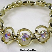 PAKULA Collectible Heart Bracelet with Aurora Borealis Rhinestones