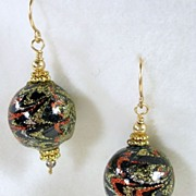 Dangle Black, Gold, Silver, Copper Enamel Pierced Earrings