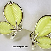 MARBOUX BOUCHER Lucite and Rhodium Butterfly Clip Earrings