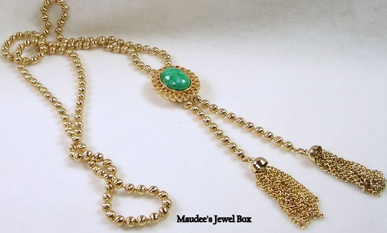AVON Gold Tone Lariat Slider with Simulated Malachite Cabochon Slider