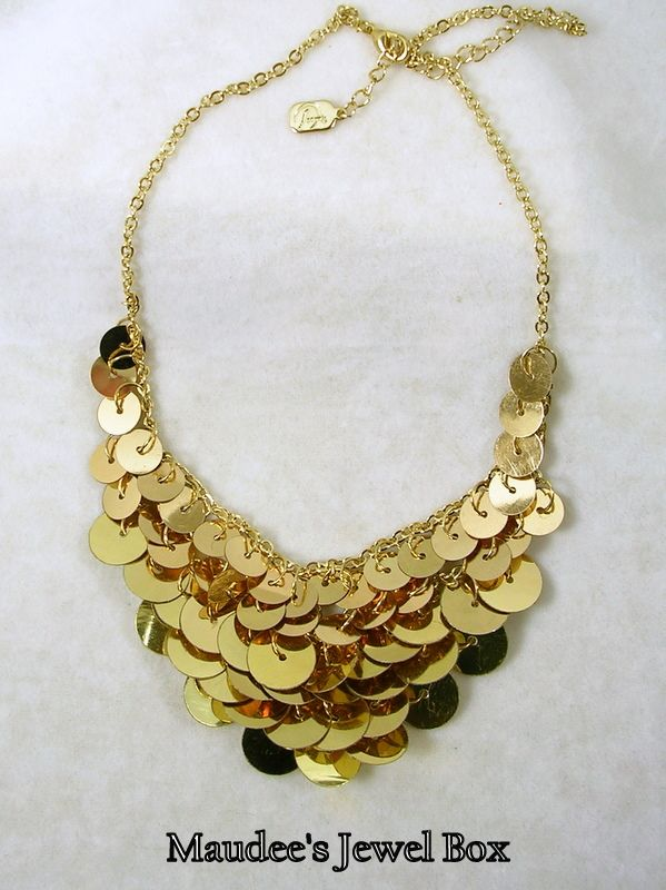 Signed Vintage Circle Bib Necklace in Gold Tone