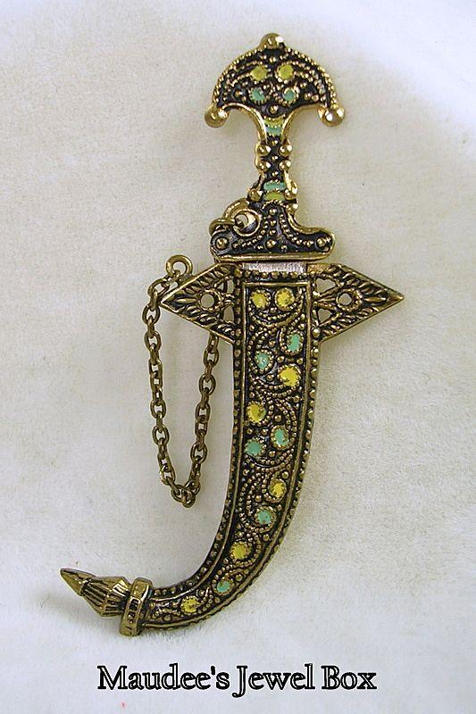 Vintage Egyptian Revival Sword in Scabbard Enamel Brooch