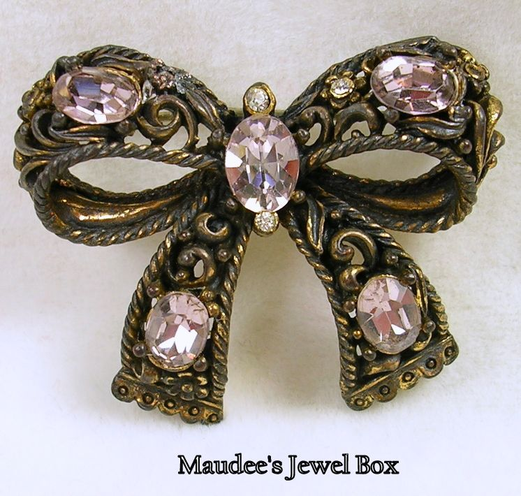 Vintage Antiqued Gold Tone Bow Brooch Pin with Pink Oval Crystal Rhinestones