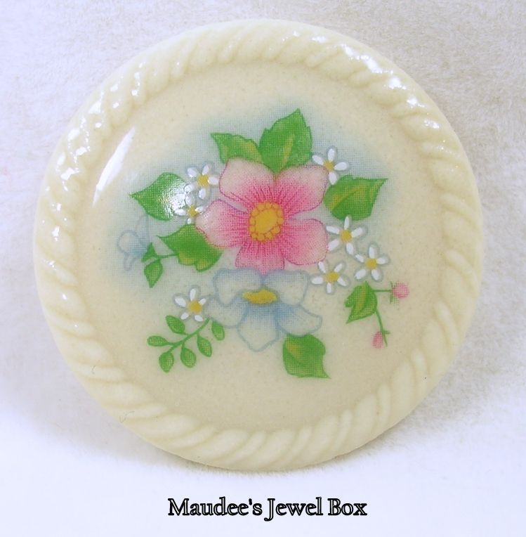 Signed Avon, Porcelain Floral Brooch Pin