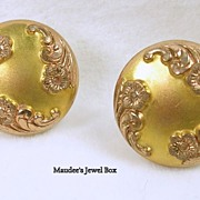 Vintage Rose and Yellow Gold Plated Floral Cuff Links