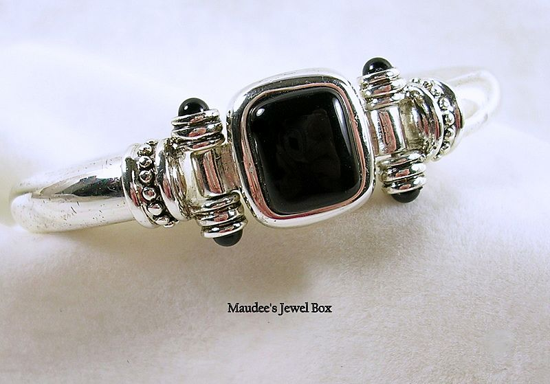 Vintage Simulated Onyx Magnetic Silver Tone Bangle Bracelet