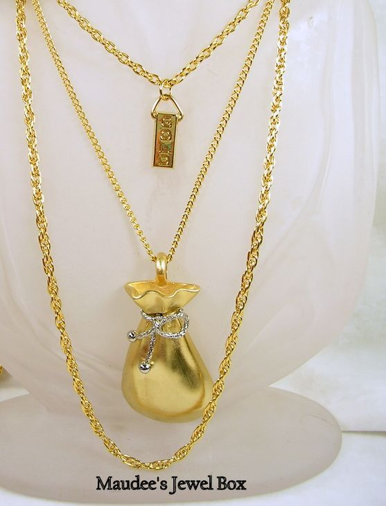 Signed HMS, Vintage Two-Tone Money Bag Gold Bar Triple Chain Necklace- Fabulous!