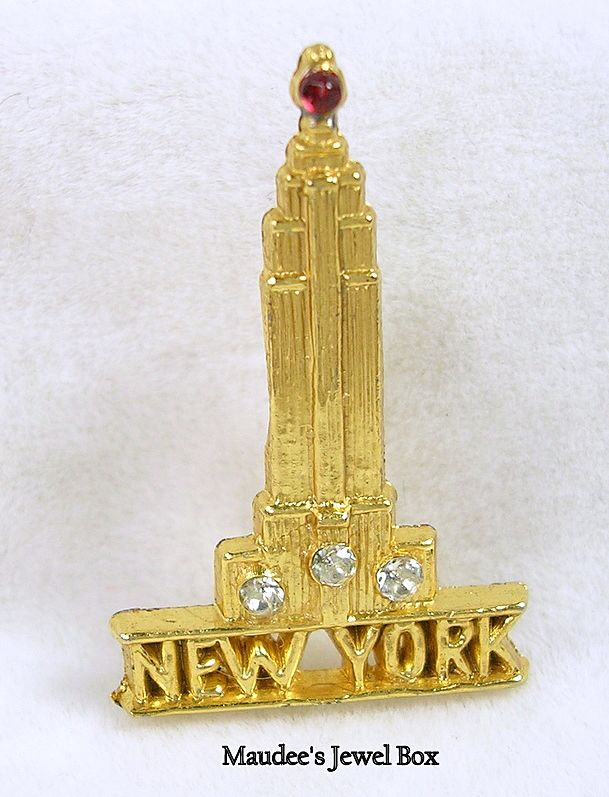 World Trade Center of New York Brooch Pin with Crystal Rhinestones in Gold Tone
