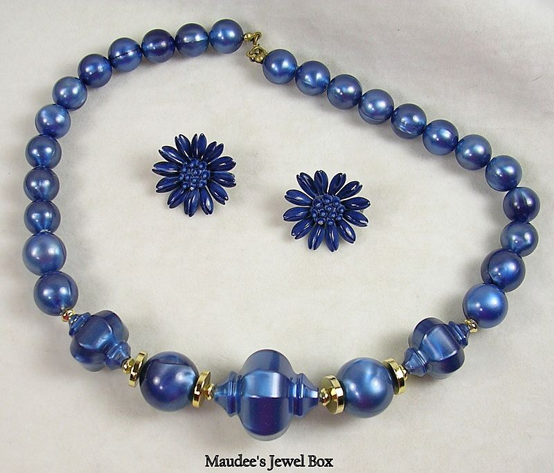Vintage Blue Beaded Necklace and Matching Clip Earrings