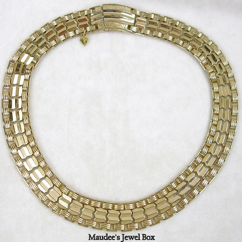 Signed Sarah Cov. Vintage Reversible Gold Tone Necklace