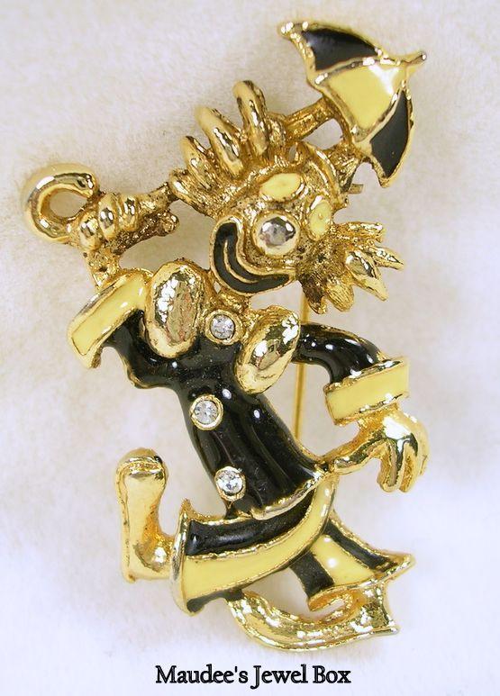 Vintage Black and Yellow Enamel Rhinestone Clown Brooch Pin