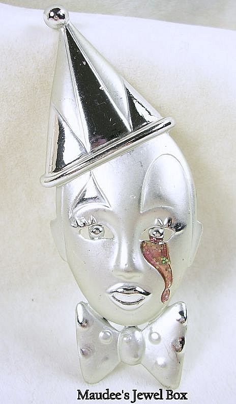 Vintage Brushed Satin Silver Tone Clown with Enamel Tear – Beautiful!