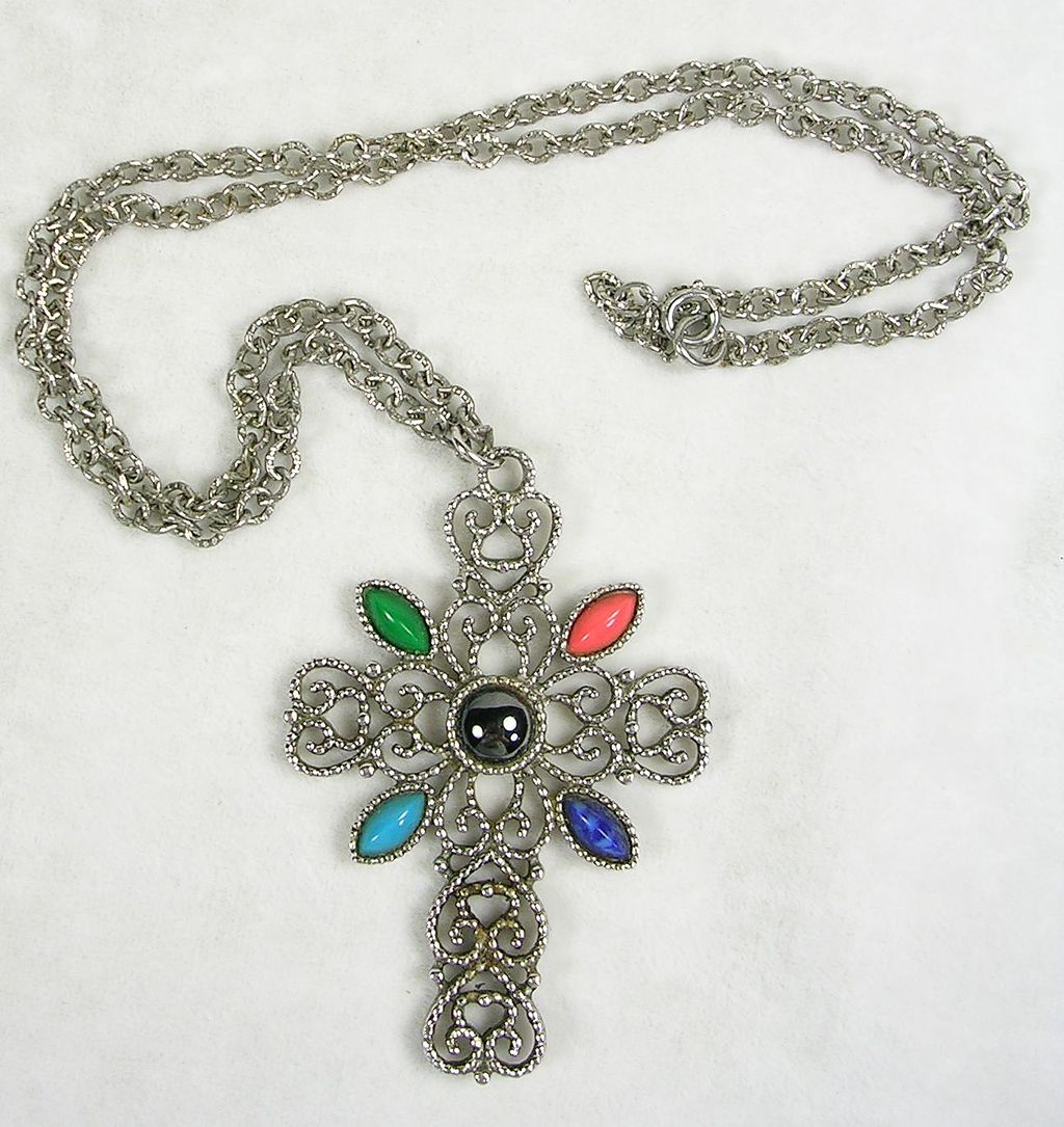 Signed Avon Filigree Silver  Tone Cross with Simulated Turquoise Jade Lapis Coral Hematite with Chain