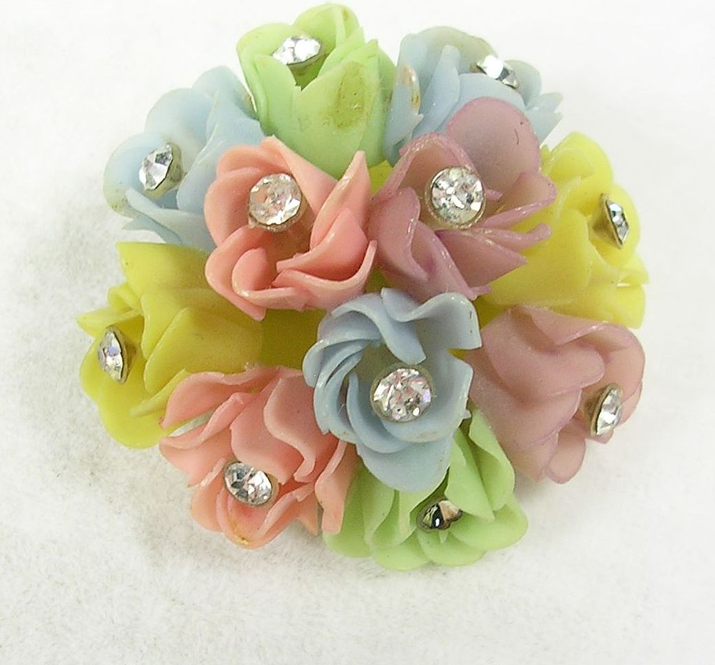 Vintage Bouquet of Pastel Flowers with Crystal Rhinestones