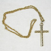 Vintage Embossed Cross Necklace Pendant with Chain in 14kt Yellow Gold Plating