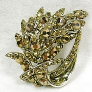 Vintage Leaf Brooch Pin with Champagne Crystal Rhinestones in Gold  Tone-Beautiful!