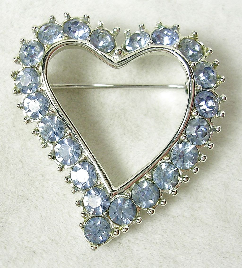 Signed SC Vintage Heart Brooch Pin with Blue Topaz Crystal Rhinestones in Silver  Tone