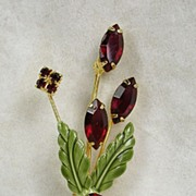Vintage Floral Brooch Pin with Ruby Red Crystal Rhinestones in Gold  Tone