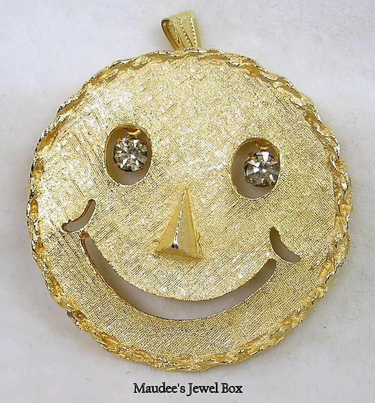 Vintage Pin or Pendant Smiley Face With Dangling Rhinestones Eyes in Gold Tone