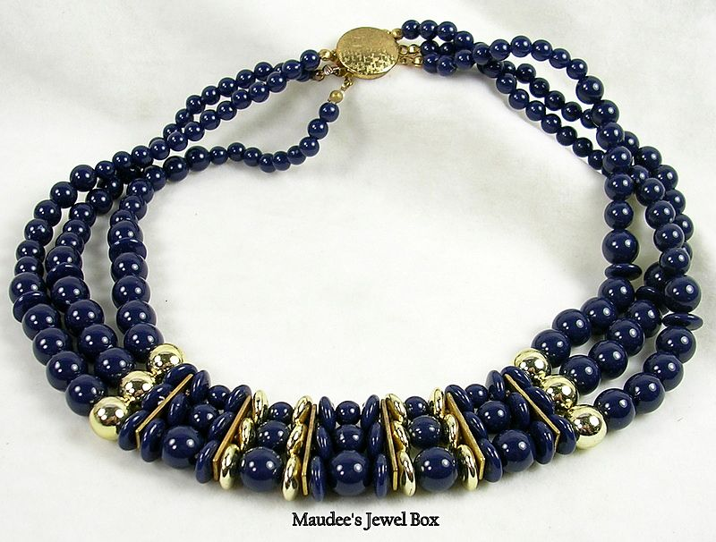 Vintage Simulated Lapis and Gold Beaded Triple Strand Necklace