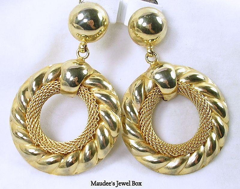Vintage Large Door Knocker Hoop Gold Tone Clip Earrings