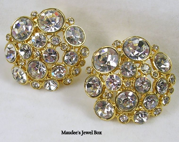 Signed Blanca Vintage Round Rivoli Crystal Rhinestone Clip Earrings in Gold Tone – Stunning!