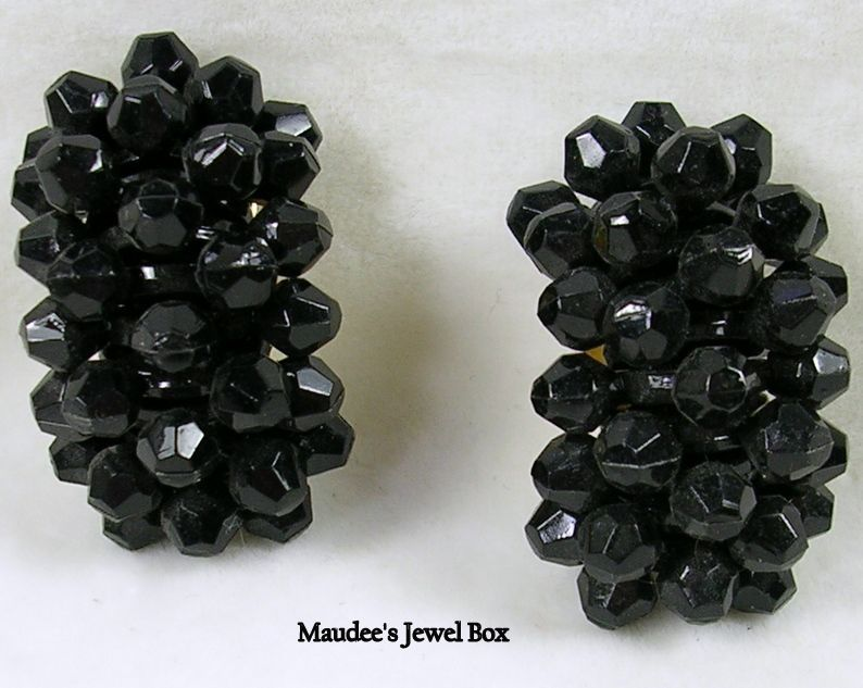 Vintage Black Beaded Half Hoop Clip Earrings – Perfection!