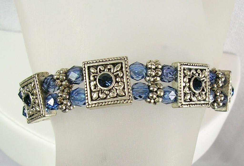 Bracelet Simulated Sapphire Rhinestones and Beads with Silver Squares