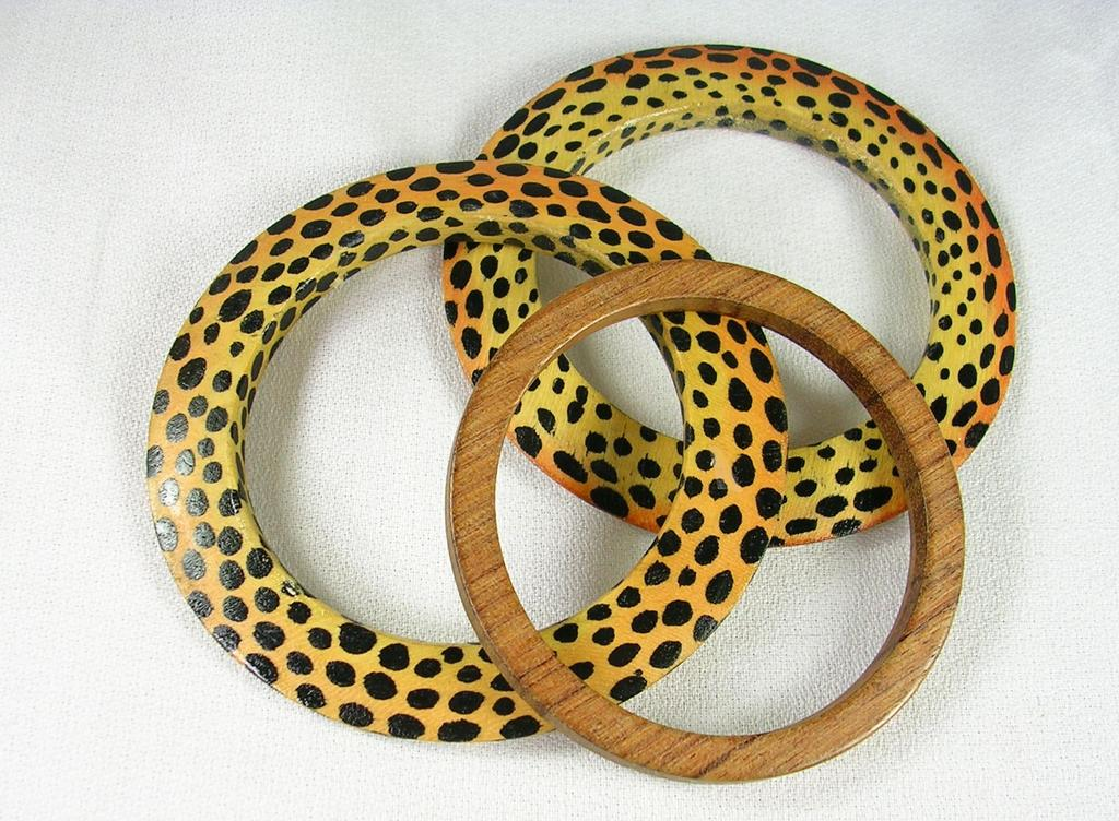Wood Bangle Bracelets with a Leopard Spot Motif and a Solid Brown Spacer