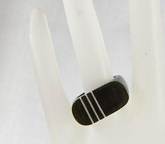 Ebony Acrylic Square Dome Ring with Sterling Silver Strips