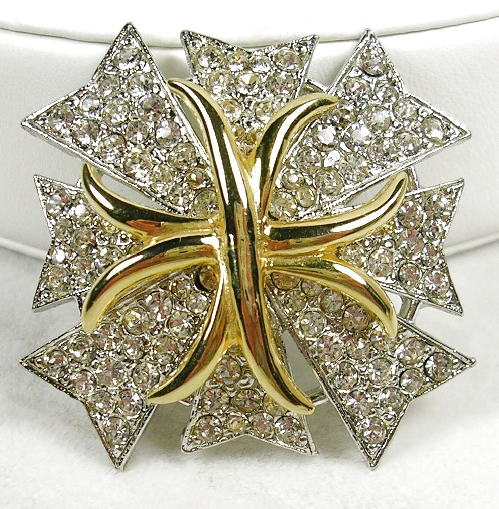 Kenneth J. Lane Designer Brooch Pin in Silver  Tone and Gold Tone