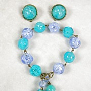 Lisner Demi Parure Vintage Earrings and Tasseled Bracelet Set in Colors of Turquoise and Tanzanite Lucite Beads – Stunning!