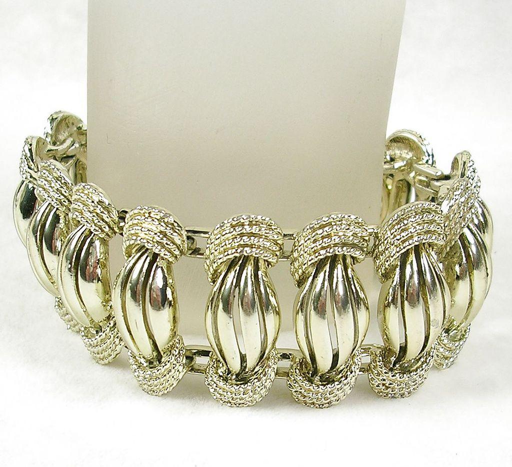 Signed Coro Vintage Le Fleur Open Design Link Bracelet in Silver  Tone