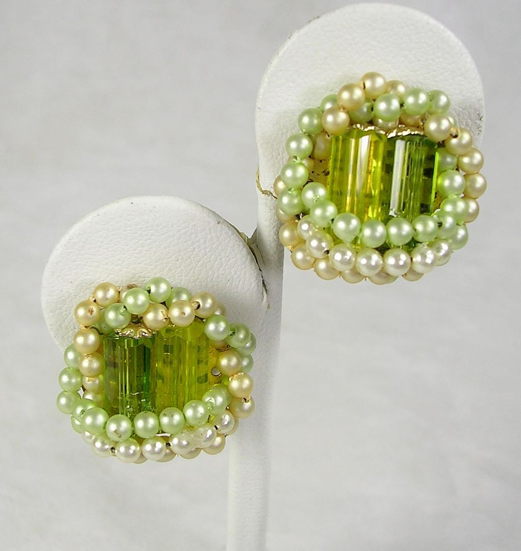 Signed Japan Simulated Pearls Peridot Citrine Crystal Earrings in Gold  Tone