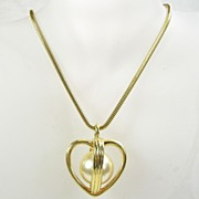 Vintage Open Cage Heart with Simulated  Pearl and Chain in Gold  Tone