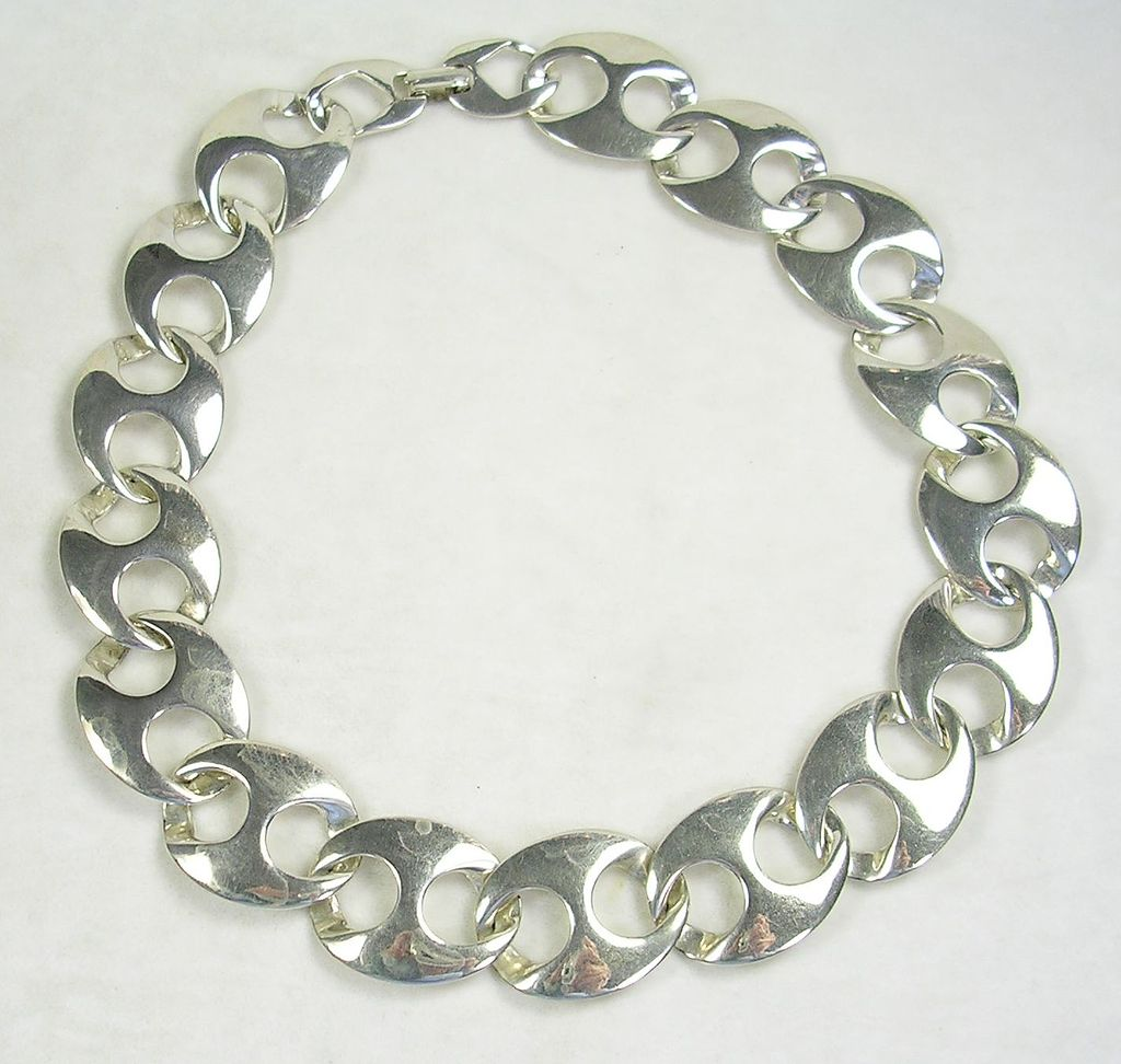 Vintage Silver  Tone Large Link Art Deco Necklace Choker – Stunning!