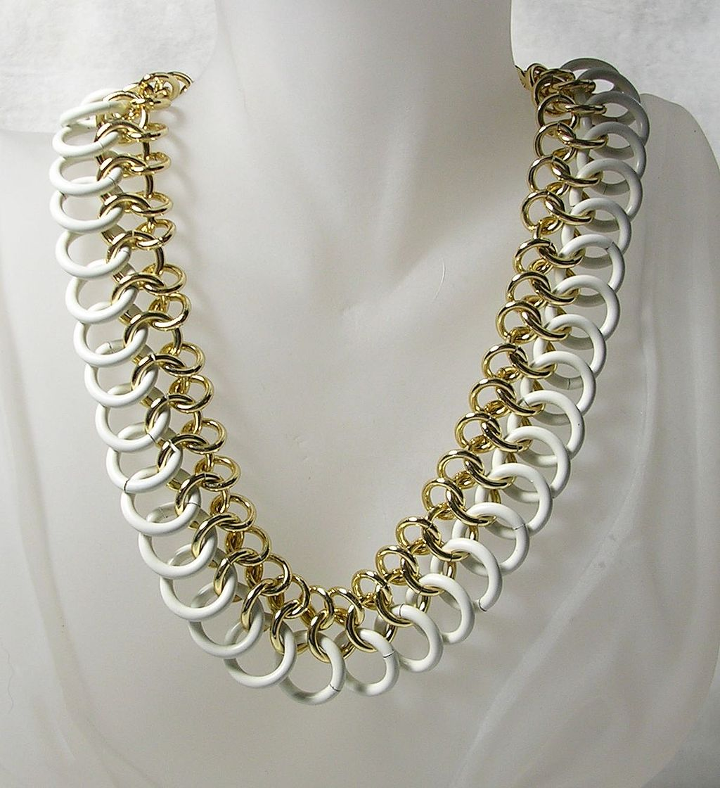 Vintage Art Deco Double Ring Necklace Choker in White Enamel and Gold  Tone