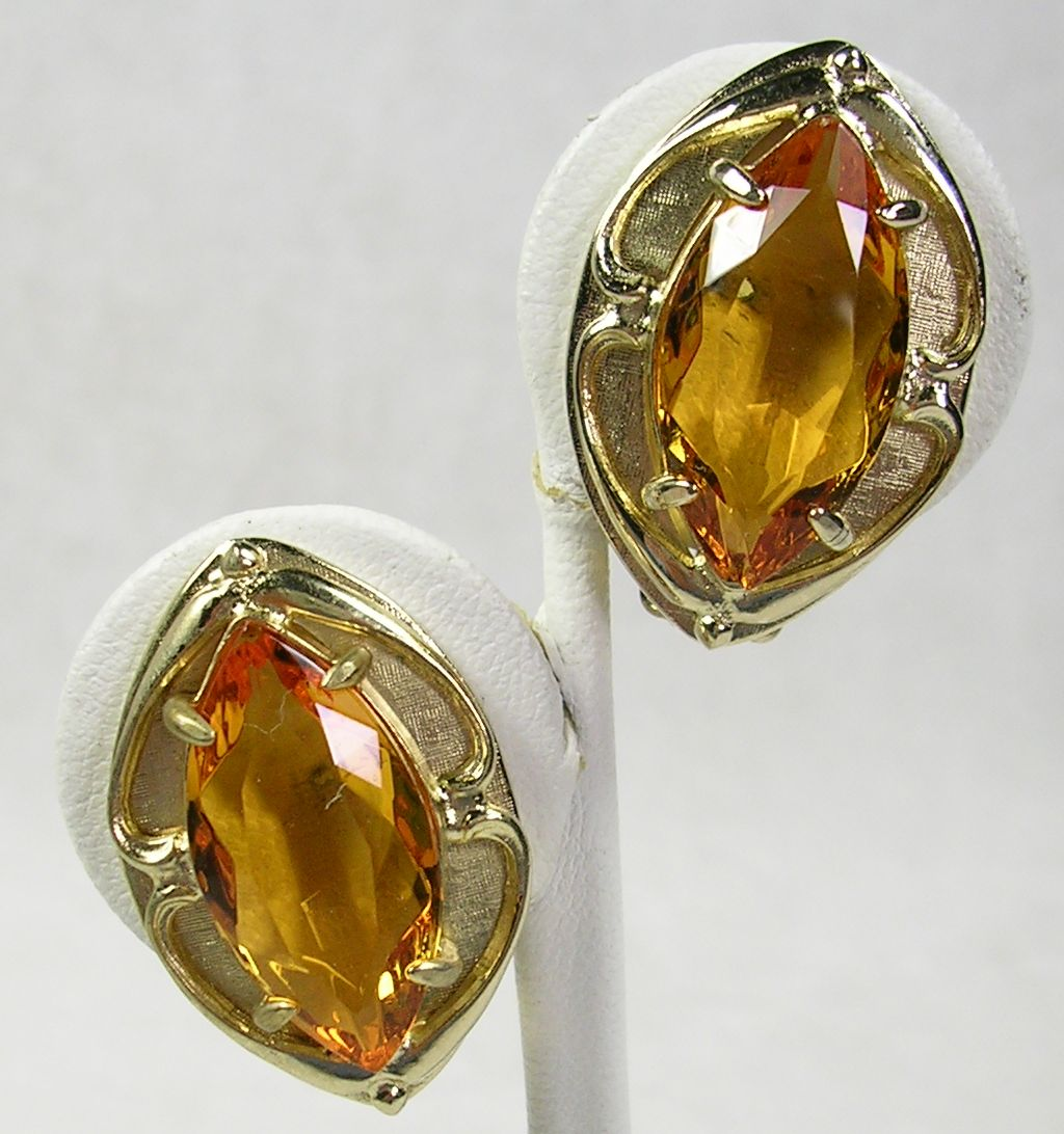 Signed Whiting & Davis Simulated Large Topaz Earrings in Gold  Tone