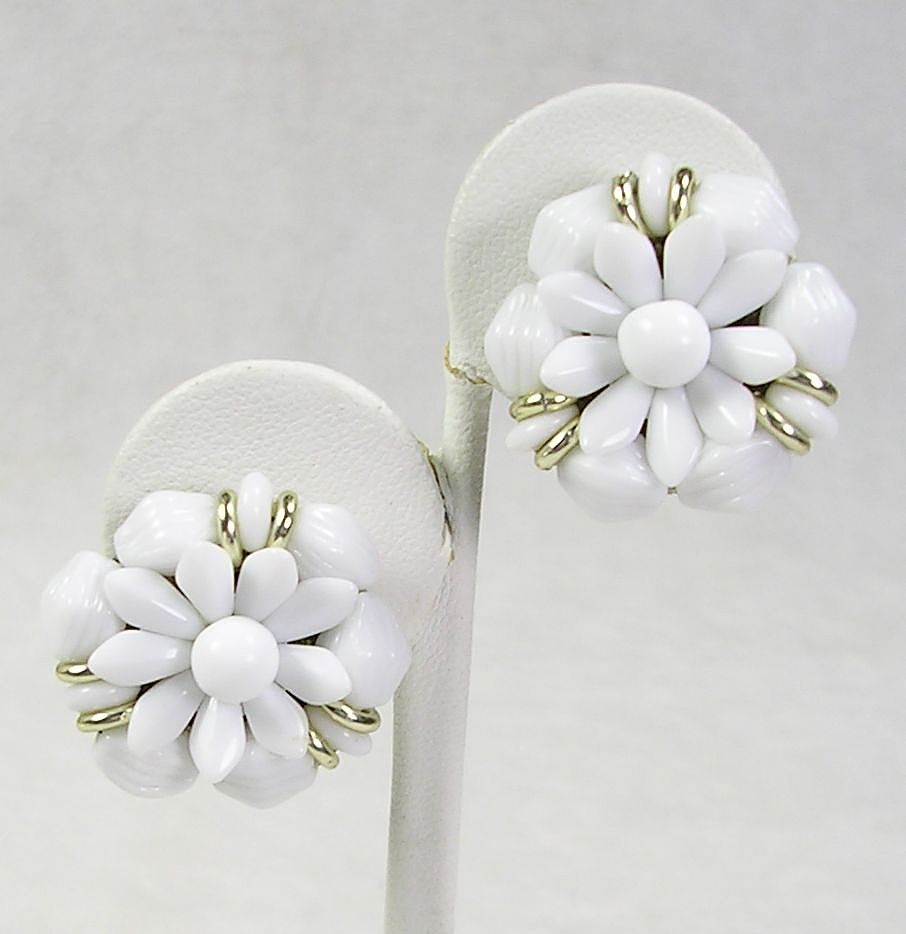 Signed Made in West Germany White Floral Lucite Clip Earrings