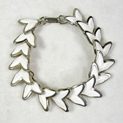 Vintage Heart or Arrow Lucite Link Bracelet in Silver  Tone