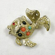 Vintage Goldfish or Coy Fish Brooch Pin with Faux Coral Turquoise Onyx in Gold  Tone