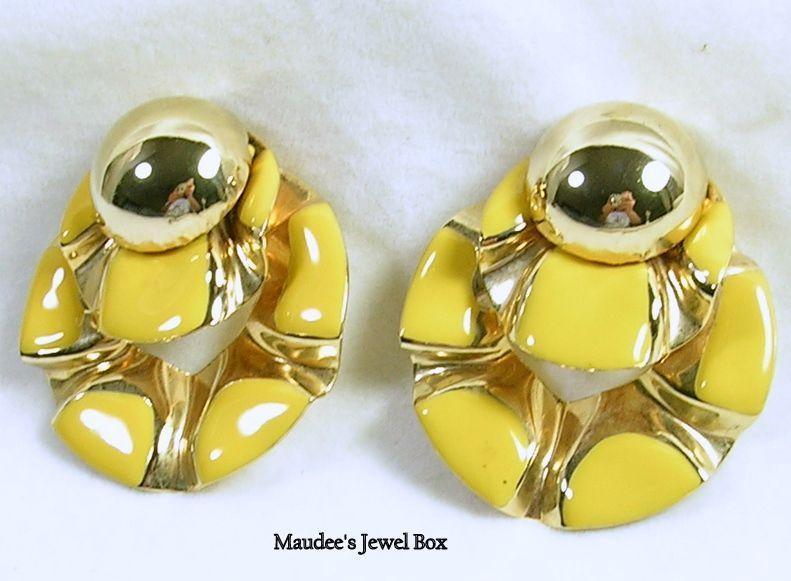 Vintage Yellow Enamel and Gold Tone Door Knocker Hoop Clip Earrings