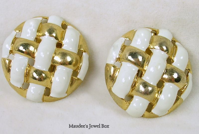 Vintage White and Gold Tone Basket Weave Clip Earrings