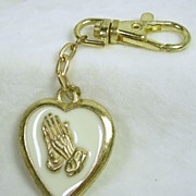 Vintage Praying Hands Heart Key Chain in Enamel and Gold Tone