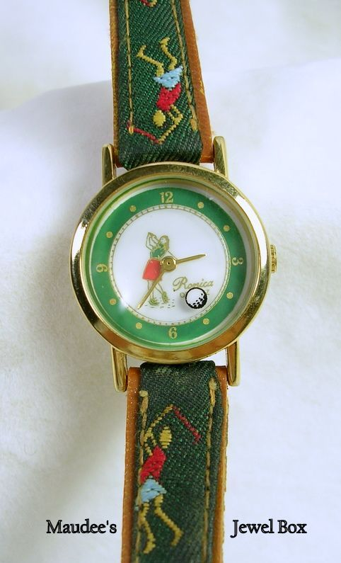 Vintage Ronica Female Golfer's Watch with Tapestry and Leatherette Band