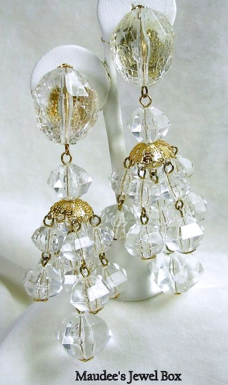 Vintage Clear Acrylic Beaded Chandelier Clip Earrings