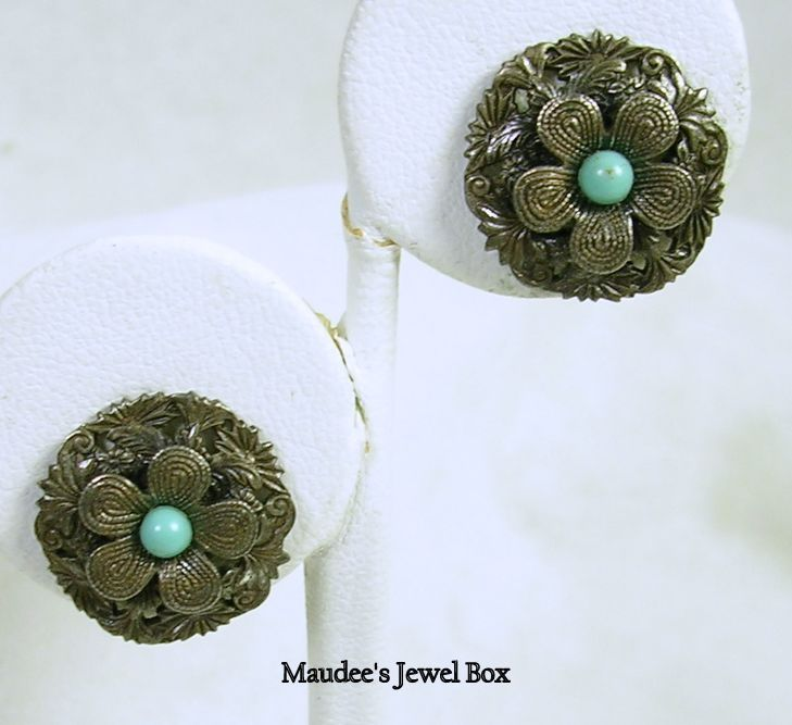 Vintage Antiqued Silver Tone Floral Clip Earrings with Simulated Turquoise