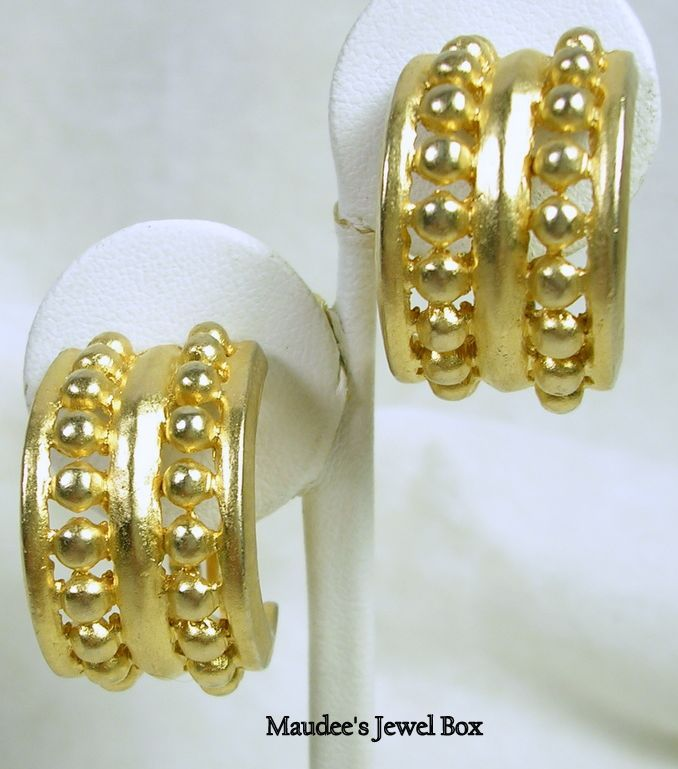 Vintage Gold Tone Half Hoop Bead Clip Earrings