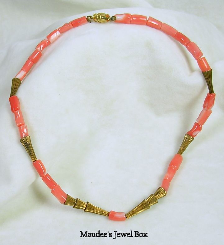 Vintage Brass and Simulated Coral Choker Necklace