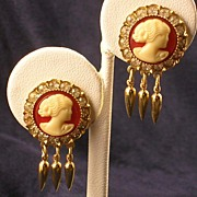 Cameo &  RS Dangle Earrings -  Vintage
